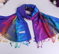 JLB 70*175cm Free Shipping 2014 New Fashion Women's Scarf winter Wrap Cotton Peacock Printing Shawl Pashmina Tassels Scarves