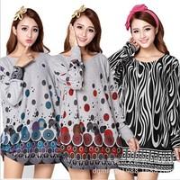 50 Colors! 2014 New Flower Print Woman Dress Autumn Winter Novelty Big Plus Large Size  Long Top Tunic for Women 3XXXL~4XL,5XL