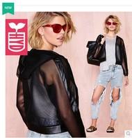 Punk style!New 2014 brand PU splicing gauze zipper short coats womens motorcycle vogue hooded jackets
