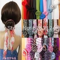 Wholesale 158 colours Chiffon leopard print magicaf silk scarf magic silk scarf belt hair band accessory cap female dual RJ1740