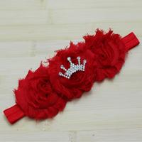 2014 Chic Triple chiffon Shabby Flower Headbands Baby Crown Headbands kids Newborn hair accessories 1pcs/lot free shipping