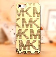 Luxury Gold Logo Bag For Apple Cell Phone MK Michaell Korss Case Cover For iPhone 5 5s Kors Case Mobile Phone Case Fashion Bag