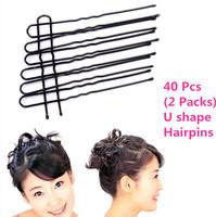 40 Pcs/ pack New 6cm Black Plated Thin U Shape Hair Bobby Pin Black Metal Clips Barrette