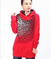2014 new thicken warm hoodies sweatshirt women fashion hooded sweatshirt for Winter Autumn Red M L