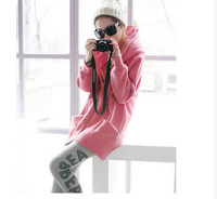 Free shipping zipper casual thickening warm hooded jacket women hoodies coat for 2014 Autumn Winter Pink M