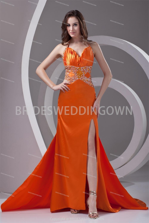 Orange Halter Satin Apple Sleeveless Sheath/ Column Prom Dress Amazing(China (Mainland))