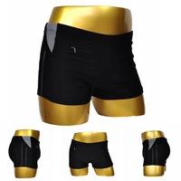 2014 European large size men's black swimming trunks nylon boxer swim trunks upscale free shipping