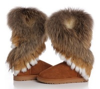 Free shipping 2014 winter warm high long snow boots artificial fox rabbit fur leather tassel women's shoes,size 35-41, XWX219