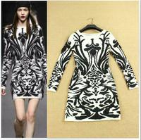 High Quality Autumn Winter 2014 Charming Print Dress Women's Elegant Sheath Knitted Wool Sweater Mini Dress