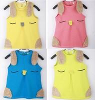 Winter Girls waistcoat polar fleece dress vest coat outwear baby girl rabbit pattern children clothing 100% cotton warm coat
