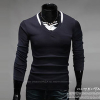 New High-Quality European and American Retail Spring Sports Fashion Men Cultivating Long-sleeved V-Neck T-shirt , TX229
