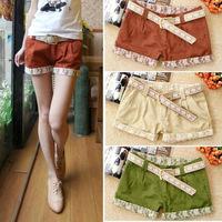 Free shipping summer fashion lace hem shorts shorts