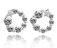 ER440 Hot Sale Discount Europe Style Crystal Round Stud Earrings For Women Wholesale With 925 Silver Plated