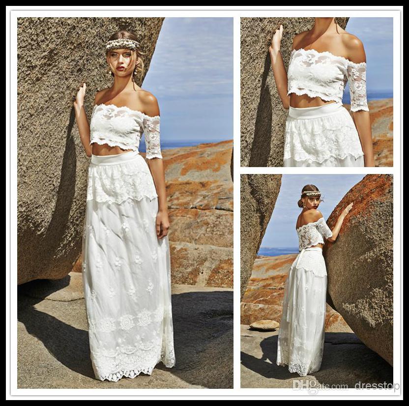 2 Piece Beach Wedding Dresses : Beach wedding dresses cap short sleeve pieces bride gowns