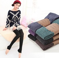 2014 winter women lovely leggings cotton wool thick leggins warm clothes for lady free shipping U589