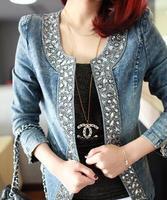 Women's Long-sleeve Denim Jackets Fashion Outerwear Lady's Autumn Coat Paillette O-neck Jacket Short Design Tops Plus Size XL