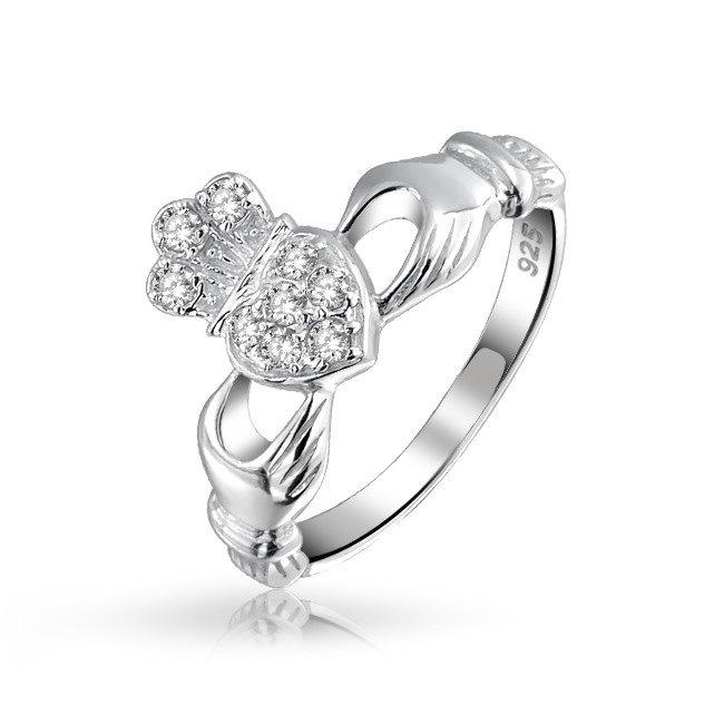 Classic Irish Celtic Claddagh Pave CZ Diamond Rhodium Plated Heart Sterling Silver Friendship Ring Jewelry (DAILY DAR-14060902)(China (Mainland))