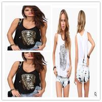 2014 Women cotton Fashion Hamesh Hand Bronzing Low Round Neck Loose Tank Top Women T Shirt