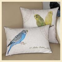 Decorative Cushion Cover Hemming Blue parrot Lumbar Pillow Pastoral cushions for chairs cotton linen pillowcase 30*50cm B8004