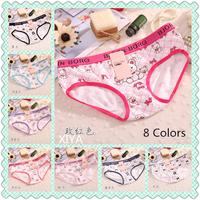 A008 Hot Sale 6 PCS/lot  Cotton Panties Fitness Briefs Girl's Victoria Cartoon Bear Plaid Print Sexy Women's String Underwear