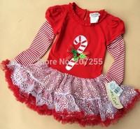 Free shipping children clothing girls princess Christmas dress long sleeves TUTU dress red  rare editions Q