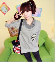 Free shipping patchwork fake two-piece casual skull hoodies sweatshirts 2014 Autumn darkblue gray