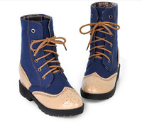 women autumn 2014 fashion shoes hollow out patchwork leather lace-up 4 colors elegant ankle boots