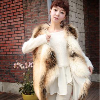 Luxury Женщиныs Leather Мех Жилет Winter Fox Мех Soft Warm Талияcoat 6 8 10 12 14 ...