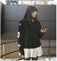New casual loose skull sweatshirt women loose pullover outerwear for Winter and Autumn black gray