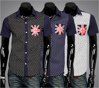 Hot New 2014 Spring Mens Fashion Dress Shirts Polka Dot England Flag Hit Color Polo Slim Fit Short sleeved Shirts Free Shipping
