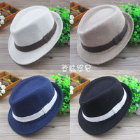 HT-1209  Free shipping  Simple environmental Linen fedora hats for kids children's bowler hats fashion cowboy caps