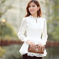 New arrive 2014 women's shirt chiffon shirt render high quality waist loose long-sleeved shirt Free shipping