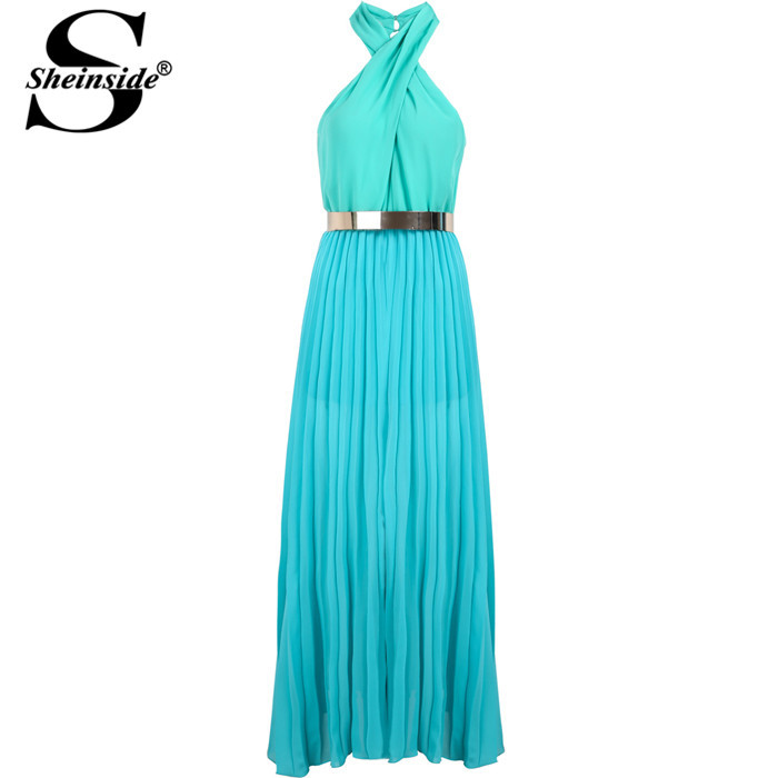 Sheinside New Arrival Summer Fashion Women Blue Halter Sleeveless Pleated Leg Long Designs Evening Chiffon Maxi Dress(China (Mainland))