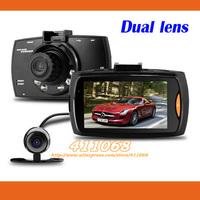 "G30B Dual lens Car DVR 2.7""LCD Full HD 1080P+VGA 480P With G-sensor+H.264+Night Vision+Motion Detection Car Dashboard Cam"