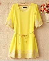 New 2014 Women Summer Dress Korean Hot Sell Chiffon Embroidery Short Sleeve O-neck Loose Casual Slim Dress Free Shipping 9942