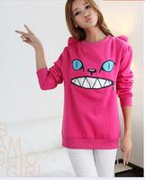 Drop shipping fleece women cartoon hoodies sweatshirts for 2014 Autumn candy color free size good quality