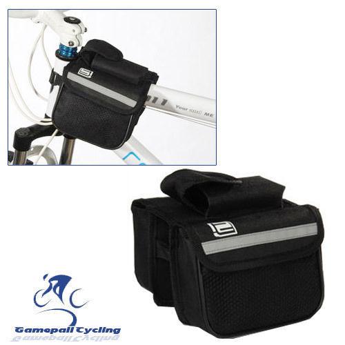 Bike Front Tube Bag Cycling Bicycle Double Pannier Mountain Frame Front Tube Saddle Bag Black(China (Mainland))
