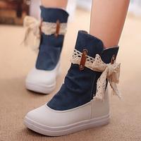 2014 women summer autumn fashion sweet denim cloth bow flat heel canvas sneakers boots