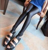 2014 women sexy black leather pants fitness leggings slim leggins free shipping U591
