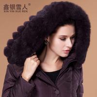 High quanlity 2014 winter jacket women coat down & parka plus size female medium-long with rabbit fur down coat thickening coat