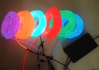 3.2mm diameter 50m  with 90V~240VAC in red/aqua/purple/green/yellow  Neon Light Glow EL Wire Rope Tube