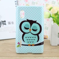 For LG optimus L5 case Cute sleep owl soft TPU phone back cases covers for LG optimus L5 E610 E612 case free shipping