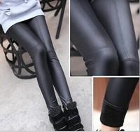 2014 hot winter women warm sexy black leather pants fitness leggings slim leggins free shipping U592