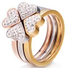 316L Stainless Steel Jewelry Unique 3in1 Heart Rings For Women Surgical Steel Nickle Free CZ Crystal Clover rings