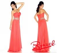 RBC761 Wonderful Sweetheart A Line Chiffon Long Evening Dresses 2014 Beading Formal Prom Dress Robe De Soiree