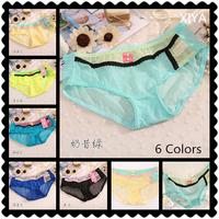 C011 Sexy String Women's Lace Panties 6 PCS/lot  Rainbow Mesh Flower Transparent Fitness Briefs Girl's Victoria Bow Underwear
