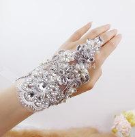 Fancy Bridal Wedding White Clear Crystal Flower Lace Bracelet Chain Fashion Jewelry Rhinestone Free Shipping