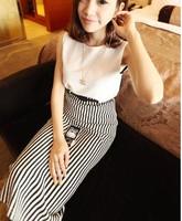 New 2014 Autumn Winter Korean Fashion Hot Sales Skirts womens skirt Black White Striped High Elastic Skirts Free Shipping 1351