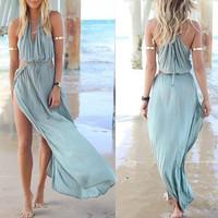 Women Summer Dress Drawstring Strapless Hollow Spaghetti Sheer Long Bohemian Beach Sexy Vestido Dresses Free Shipping
