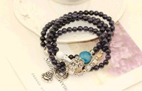 F08195 Natural Blue Gravel And Blue Crystal Agate Bracelet With Coin Amulet Beads+freeship